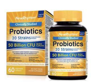 [IN-STOCK] NewRhythm Probiotics 50 Billion CFU 20 Strains, 60 Veggie Capsules, Targeted Release Technology, Stomach Acid Resistant, No Need for Refrigeration, Non-GMO, Gluten Free
