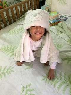 Baby blanket with cute hoodie
