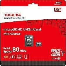 Toahiba 32gb micro sd card with sd adaptor