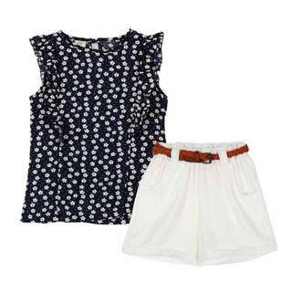 Summer Girls Casual Sleeveless Print T-shirt + Short Pants Clothing Set [PRE-ORDER]