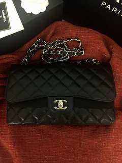 Authentic chanel jumbo double flap caviar
