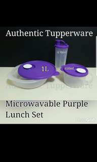 Authentic Tupperware  Microwavable Purple Lunch Set Comprises :- Crystalwave Dish 1.0L (1) Crystalwave Soup Mug 450ml (1) Tumbler with spout  470ml (1)  Retail Price S$49.10 Now S$34.40/set purple soup