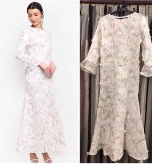 Rent(Sewa)Zalia Off White Embroidered Appliqué Mesh Dress