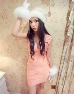 BN Bodycon Bandage Dress / S / Baby pink