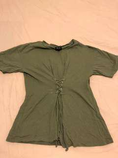 Bardot lace up Tshirt Size 6 in Khaki green