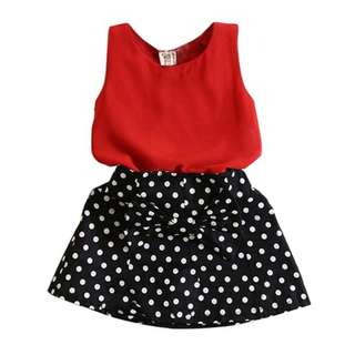 Fashion Girls Summer Vest Pleated Dress Casual Clothes Girls Skirt [Pre-Order]