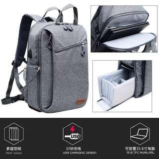 🚚 【Q夫妻】 Camera bag 單反攝影包 連接USB充電接口 大容量後背包 雙肩包 旅行包 抽屜式 雙層相機包 灰色 #BA1002-1