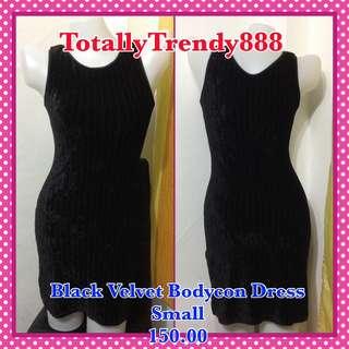 Black Velvet Bodycon Dress