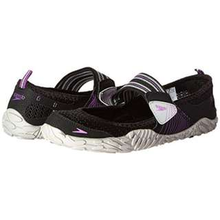 Speedo Mary Jane Black Purple Mesh Water Shoes Women's Size 5
