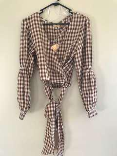Checkered wrap around crop blouse size 8 NEW