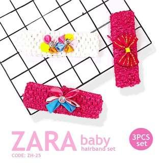 BABY GiRL ZARA HEADBAND 3PCS SET P255 / Set ( 3pcs ) Brand : ZARA Baby Suit for 6months to 6years old baby