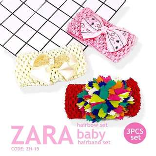 BABY GiRL ZARA HEADBAND 3PCS SET P255 / Set ( 3pcs ) Brand : ZARA Baby Suit for 6months to 6years old baby