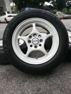 Enkei rpo1 14 inch sports rim axia tyre 70%. *must buy item*