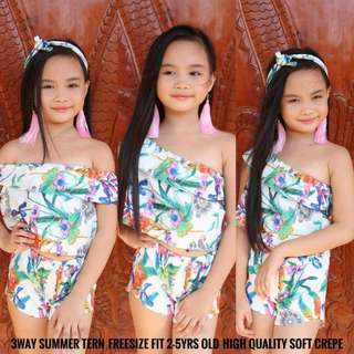 KiDS 3WAY SUMMER TERNO P240 Freesize/Onesize/Fits 2-5 yrs old Soft Crepe Fabric Code : Esy