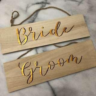 Bride Groom Wedding Signage