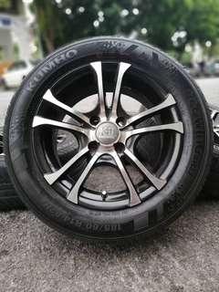 K2 racing 14 inch sports rim saga blm tyre 70%. *joal mora mora*