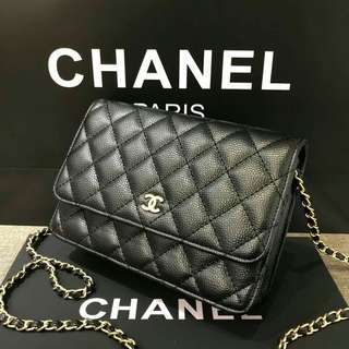 Chanel Caviar Wallet on Chain with GHW