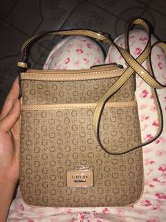Authentic Guess Burnley Mini  Mocha monogram sling bag
