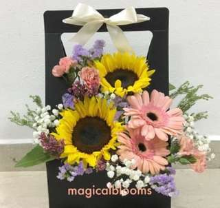 Sunflower with Gerberas Bloom Box with Baby Breath / Birthday Flowers / Shop Opening Flowers / Get well soon