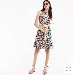 J Crew Mercantile ruched-waist dress in neon floral