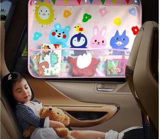Car side window curtain with pocket