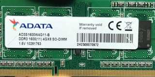 ADATA DDR3 SO-DIMM 4G