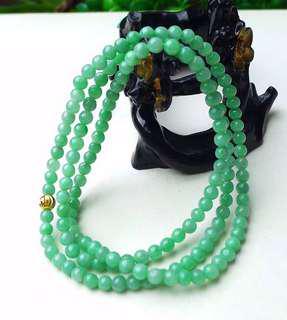 缅甸天然翡翠A货 绿色144颗珠链