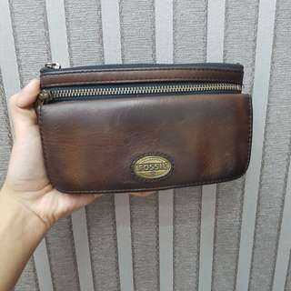 Authentic Fossil Genuine Leather Wallet Clutch Brown Vintage Smooth Kulit Asli Zipper Dompet Wanita Women