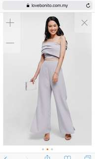 Pegine Side Slit Wide Leg Pants (Lilac)