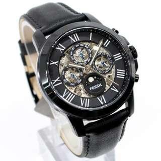【負法律責任】基隆大錶哥Fossil ME3028 頂級機械真牛皮腕錶 黑 45mm男錶女錶