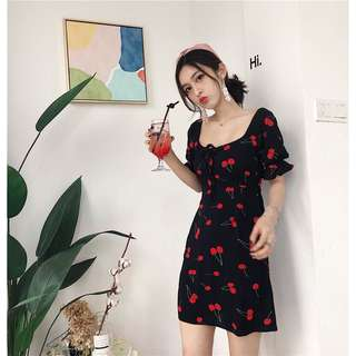 Cherry print off shoulder dress