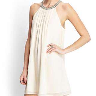 Forever 21 - White Beaded Chiffon Shift Dress