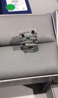 Original Swarovski Crystal and Emerald ring