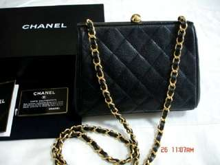 Vintage Chanel黑色荔枝皮复古mini chain bag 20x14x7cm