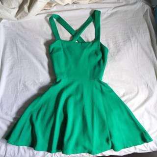 Zara - A-Line Green Cross Back Dress