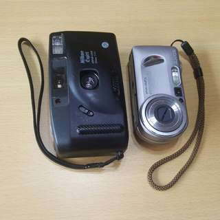 Old Cameras  Sony Cybershot And Nikon Espirit  Sony Comes With Battery Pack But No Cable Nikon Uses AA Batteries But Battery Cover Is Missing