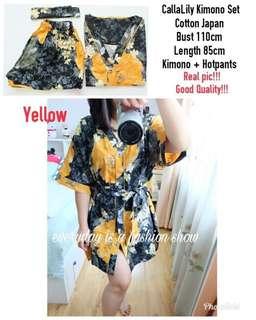 2BP CallaLily Kimono Set mr real pic, good quality, kimono full kancing + hotpants + tali obi - Maroon