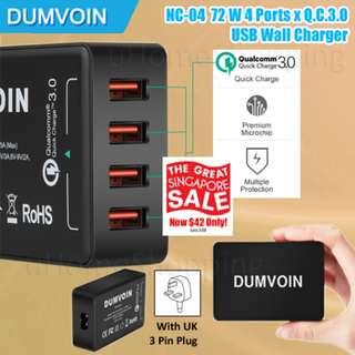 Dumvoin NC-04 Q.C.3.0 x 4 Ports 72W USB Charger 3 Pin Plug (GSS)