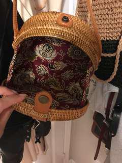Bali handmade straw bag with wood design