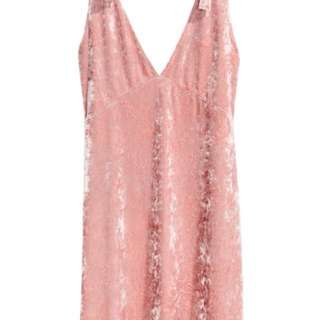 crushed velvet dress in pink