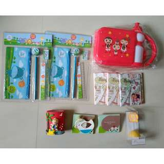 Kids stationery sets, passport holders, paper clips etc