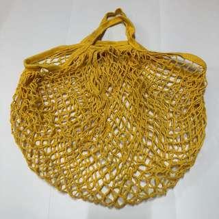 Zero Waste Campaign - Cotton Fruit Net Basket / Bag - Yellow