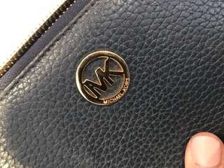 Michael kors navy + gold wallet