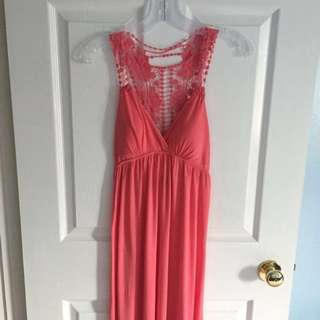 Coral Peach Lace Maxi Dress