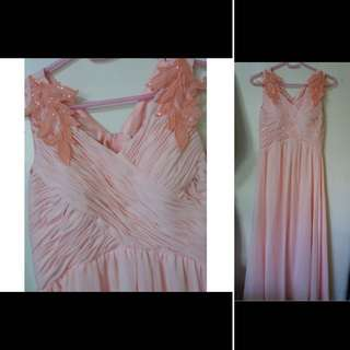 SALE Peach pink long gown