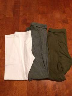 Assorted cotton leggings - Olive, grey white