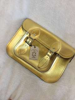 Gold Geniune Leather Body Bag