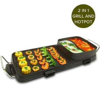 2 in 1 Electric BBQ Grill Teppanyaki and Steamboat Hotpot Asian Hot Pot