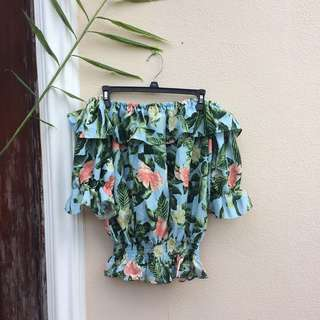 Floral Ruffled Off Shoulder