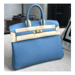 Authentic Hermes Birkin 25 Blue Ghw
